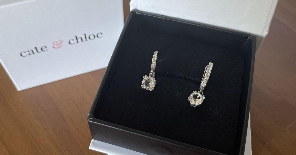pair of earrings in a box