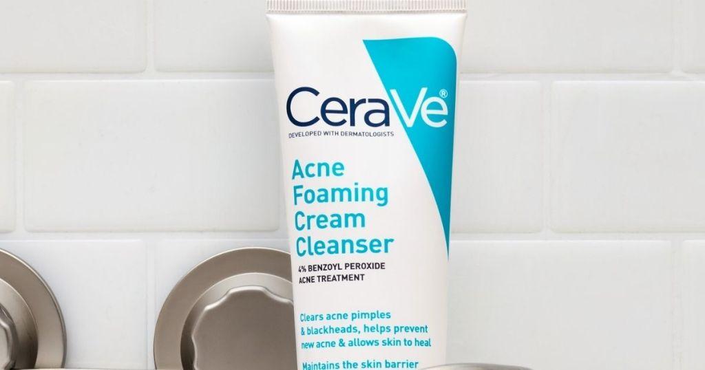 CeraVe acne foaming cream cleanser in a bathroom