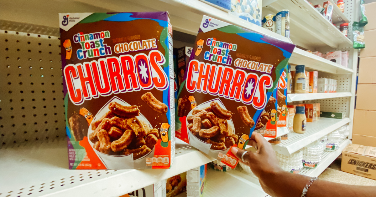 Cinnamon Toast Crunch cereal on store shelf