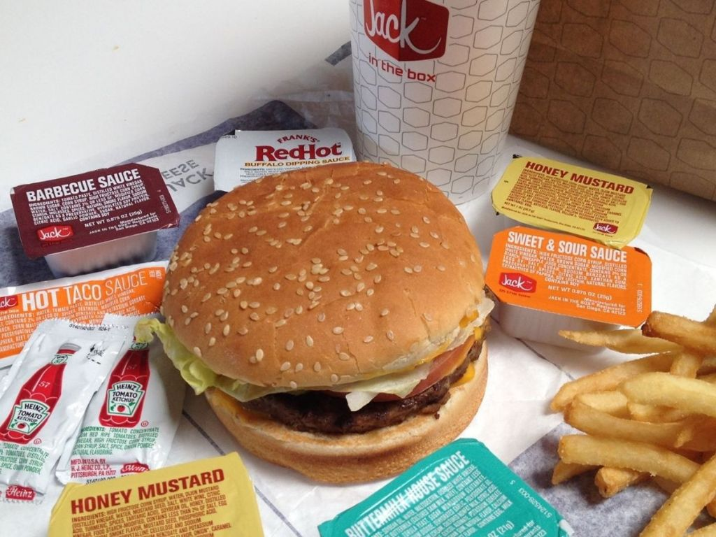 Classic Jack Burger and fries with condiments and soda