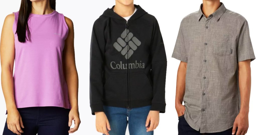 woman, boy, and man modeling columbia apparel