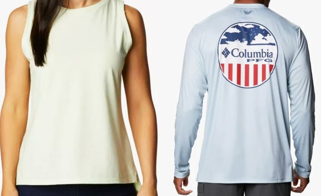 woman and man in columbia tees