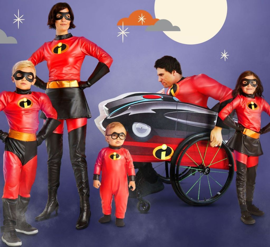 family in Incredibles costumes