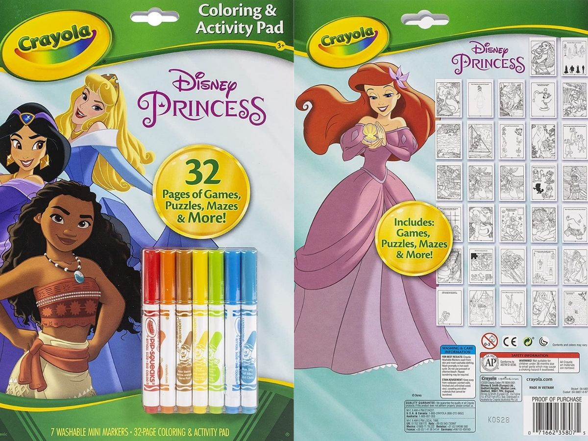 front and back cover of crayola disney coloring