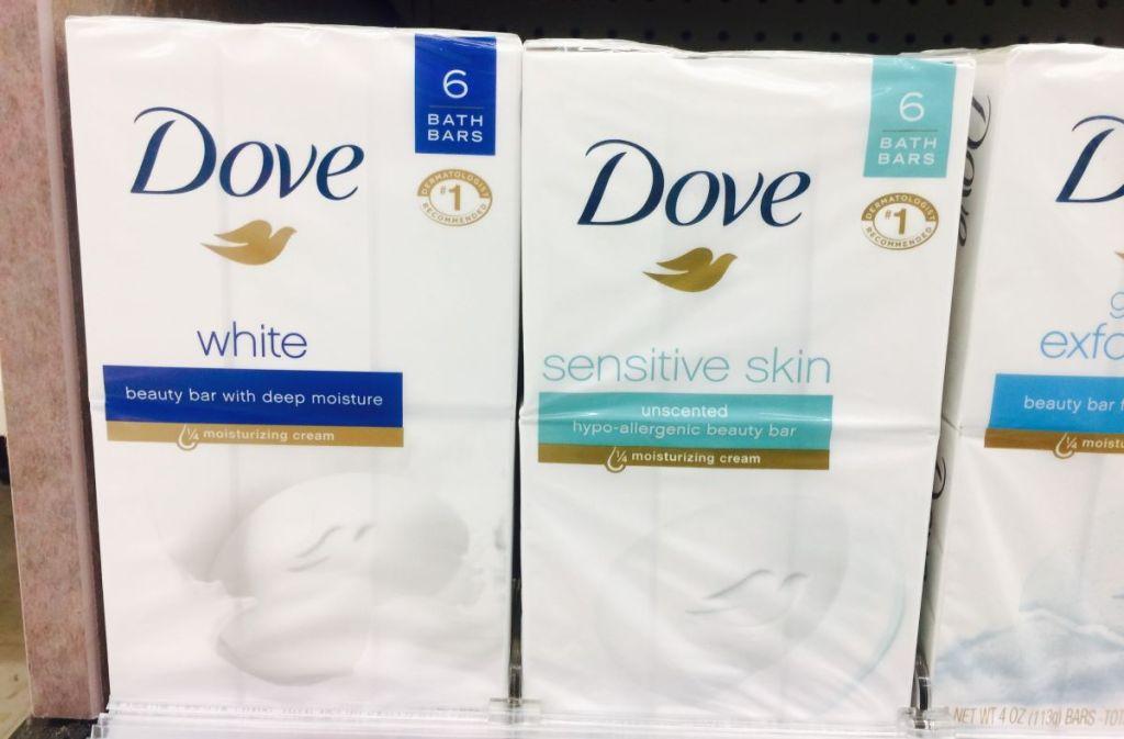 row of Dove beauty bars on a shelf