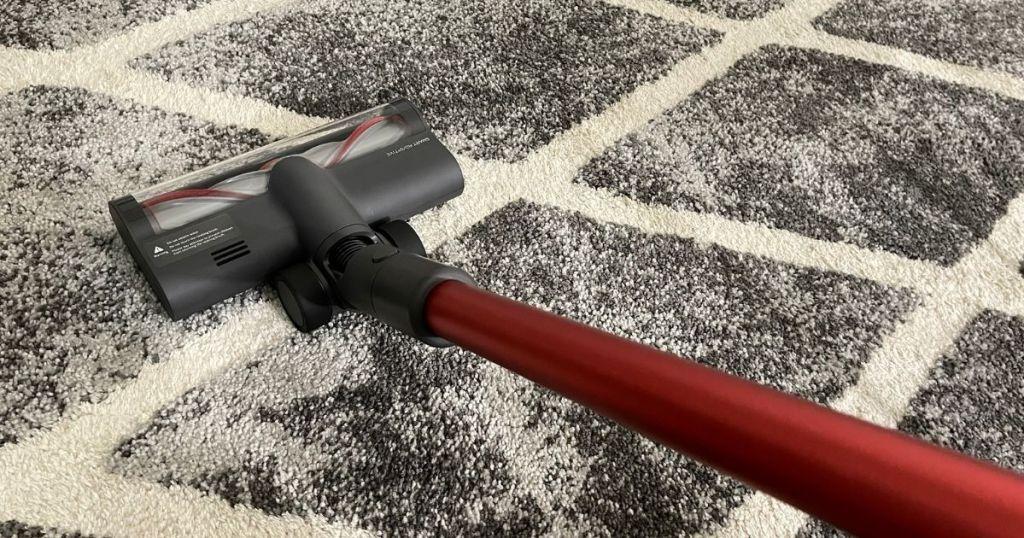 stick vacuum cleaning carpet