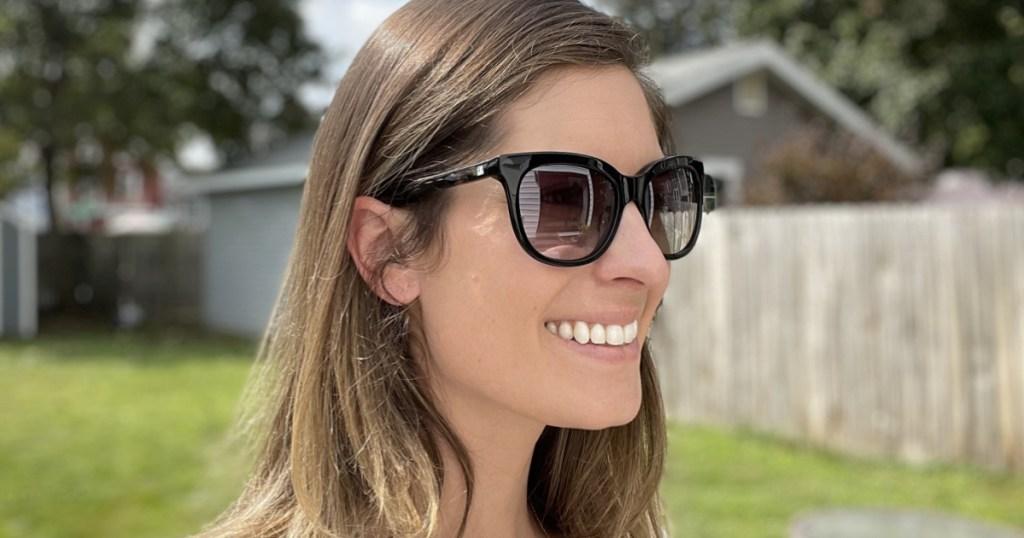 woman wearing vera wang cat eye sunglasses