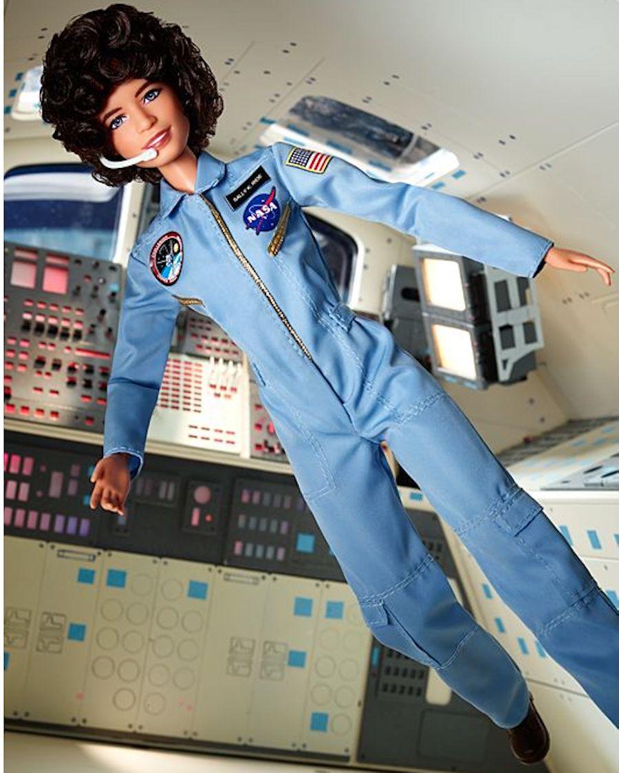 Sally Ride Barbie in rocket scene
