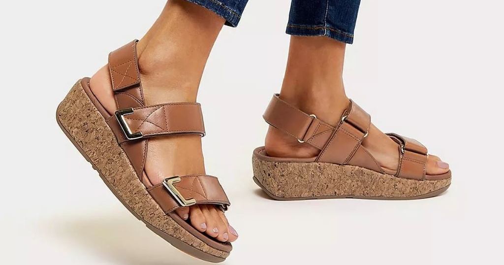feet wearing brown colored sandals
