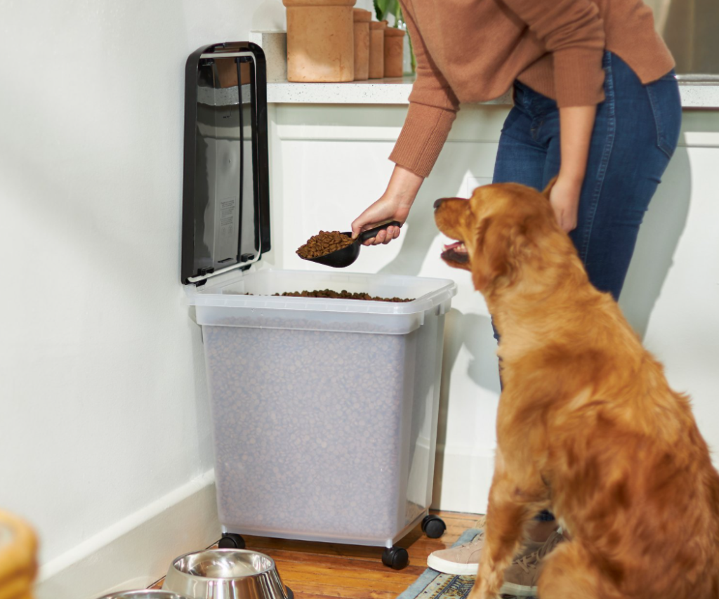person scooping dog food out of a container