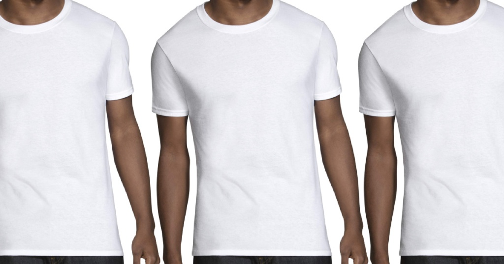 man in white crew t-shirt
