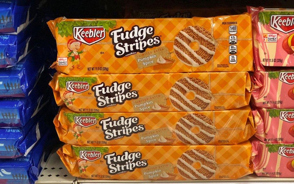 Keebler fudge stripe cookies on shelf