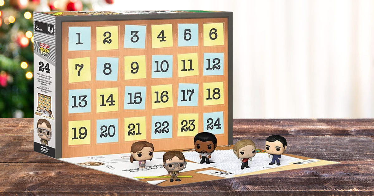 stock image of the funko pop the office advent calendar displayed on a table