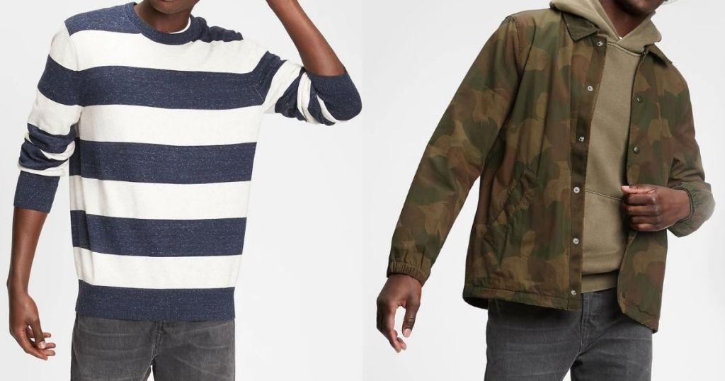 men wearing GAP Men's Sweater and Jacket