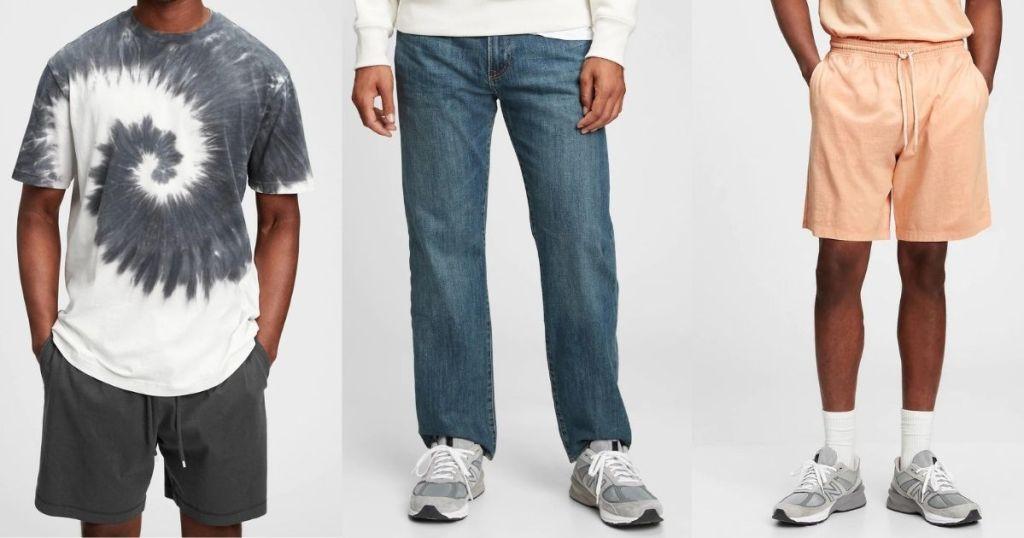 men wearing GAP Men's Tee, Jeans and Shorts