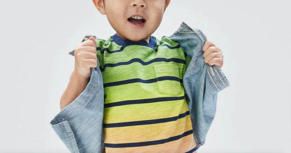 boy in striped tee