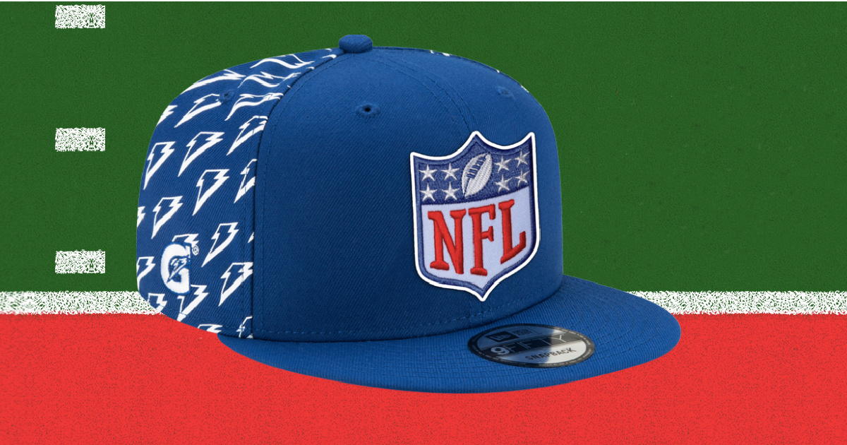 blue and white nfl hat superimposed over a stock image of a piece of a football field