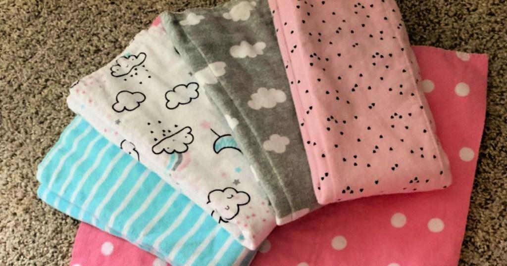 Gerber Baby Girls' 8-Pack Flannel Burp Cloths in Clouds Prints