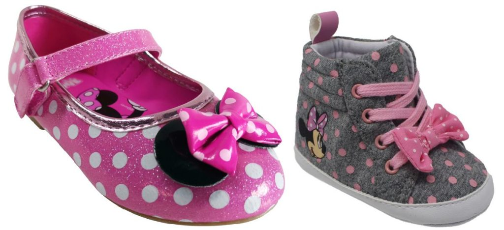 girls pink Minnie Mouse ballet flat and baby pink and gray Minnie Mouse shoe