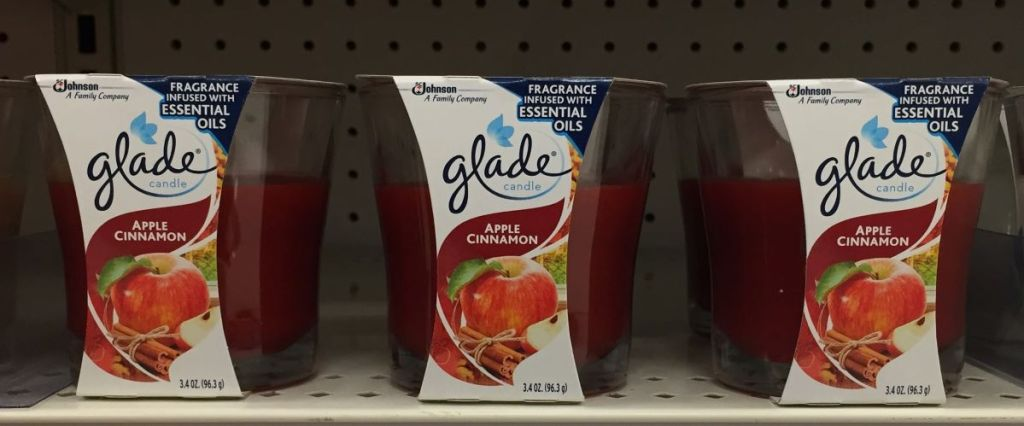 row of Glade candles