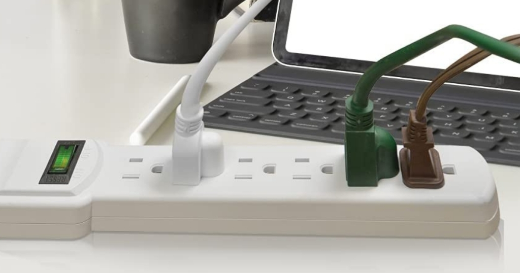 gogreen surge protector 6 outlet white