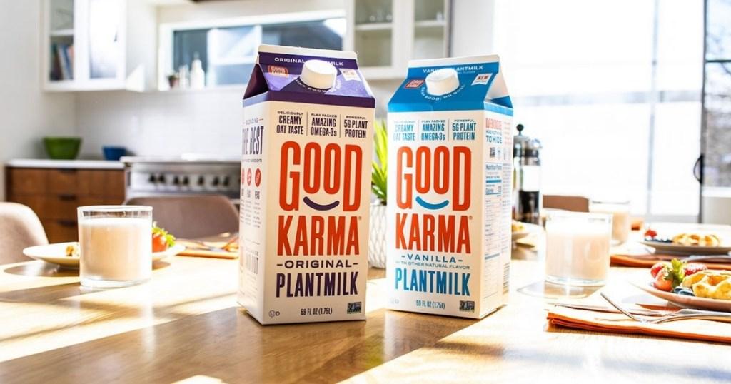 two cartons of good karma plantmilk original and vanilla