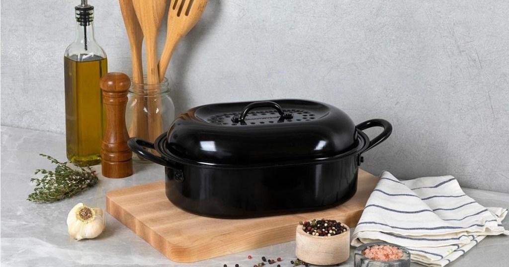 granite stone roast pan with lid