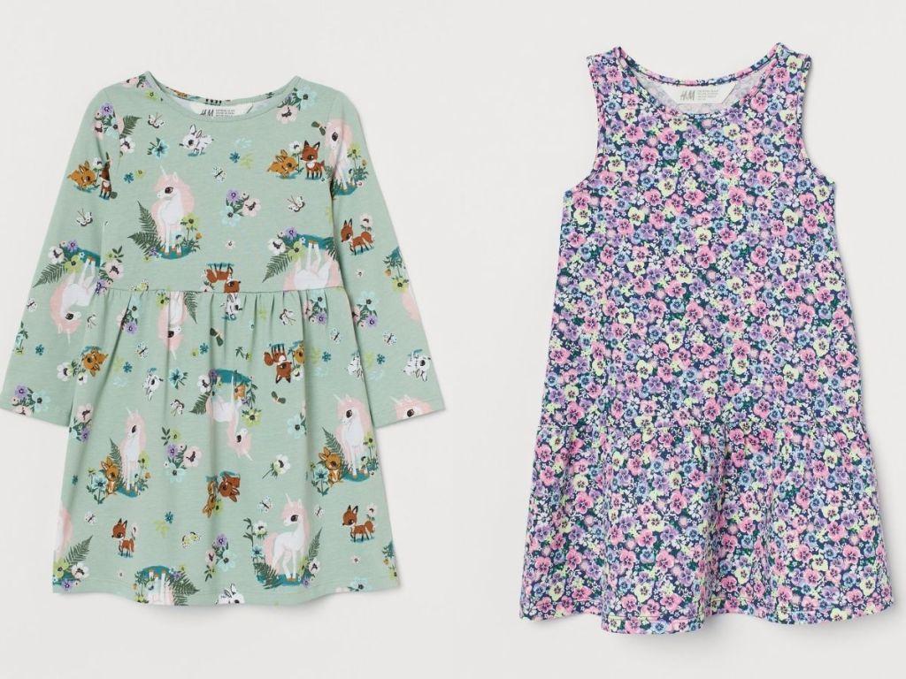 woodland girls dress and flowery dress