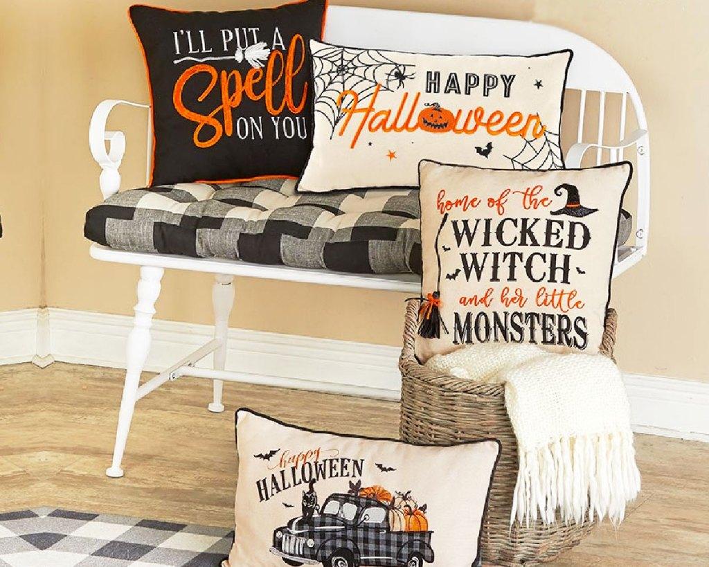 halloween pillows on chair