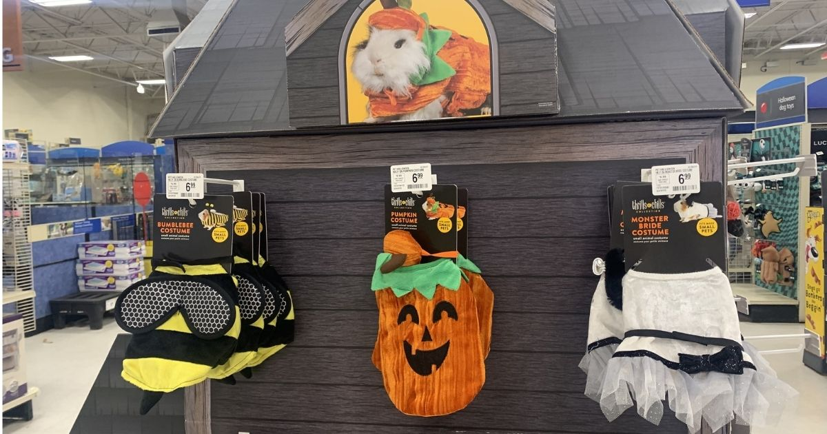 Guinea Pig Halloween costumes hanging in store