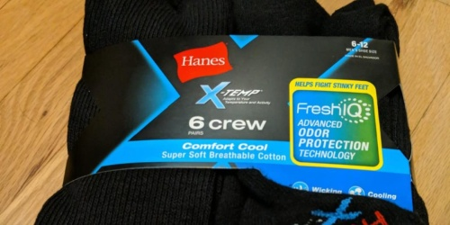 Hanes Odor Control Men's Crew Socks 6-Pack Only $5 Shipped on Amazon (Regularly $10.29)