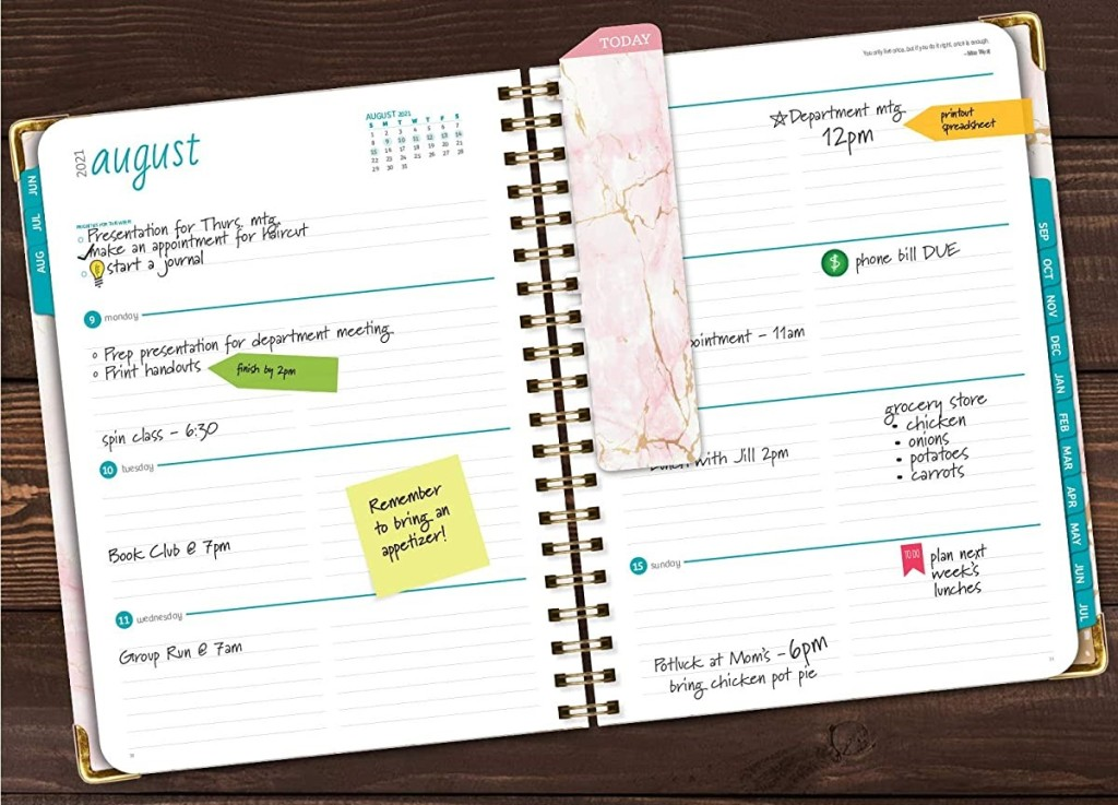 two open pages of a planner