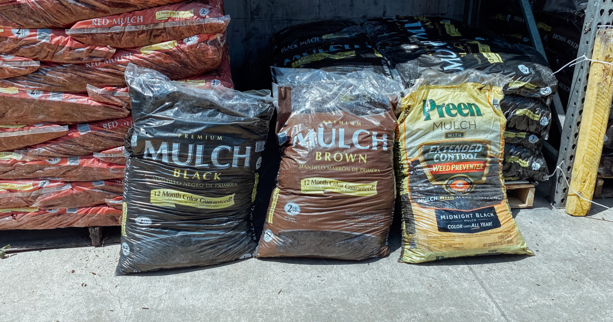 three bags of mulch