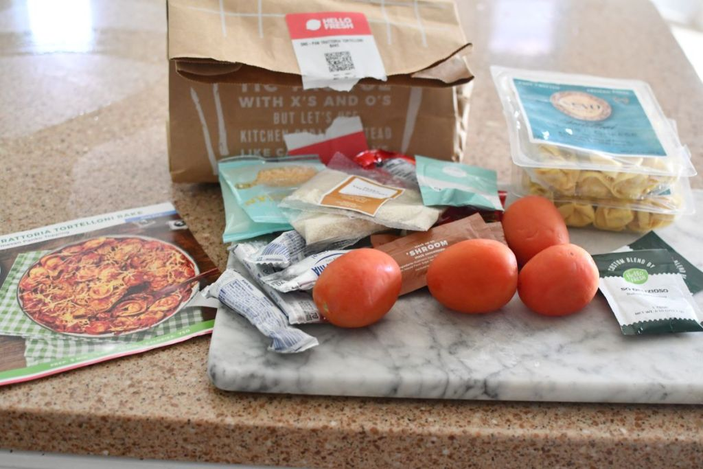 Hello Fresh meal Ingredients on a counter