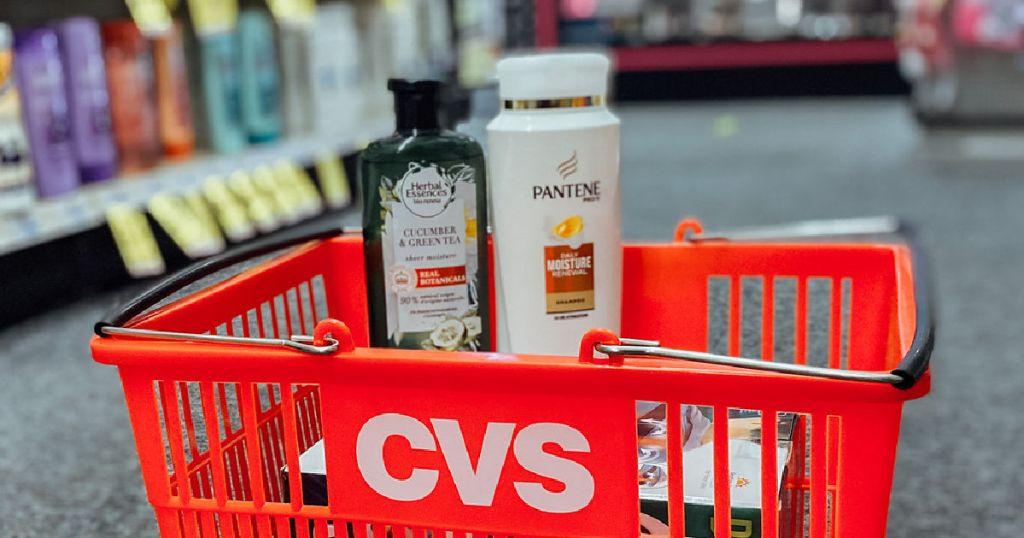 shampoo in red basket