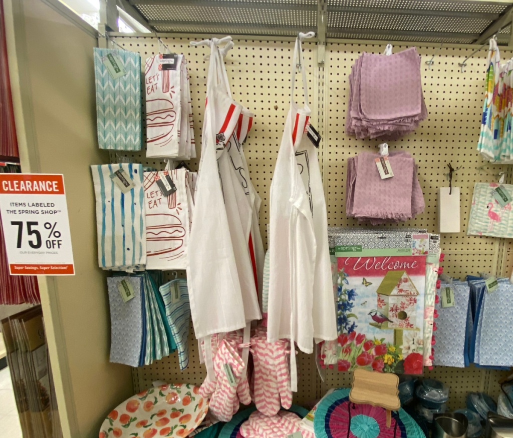 in-store display of aprons and kitchen gadgets