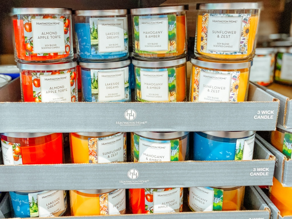 summer scents of three wick candles on display in-store