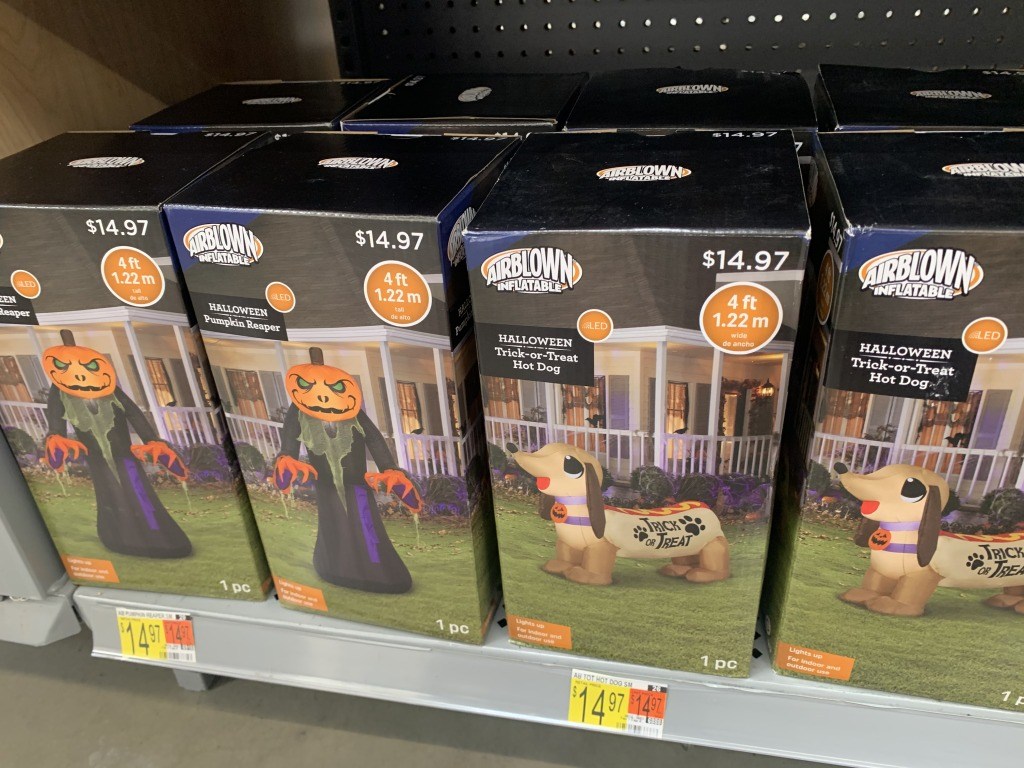 store shelf with boxes of Halloween items
