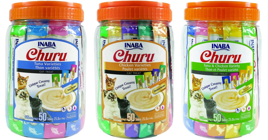 3 50-count tubs of inaba cat treats