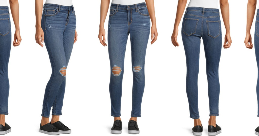 Woman modeling jeggings in different poses