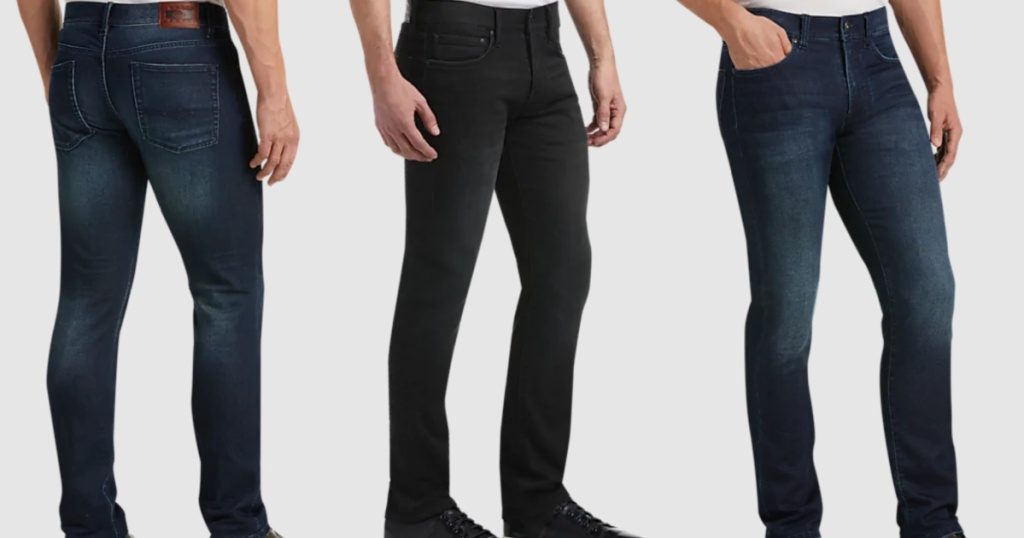 3 men wearing jeans