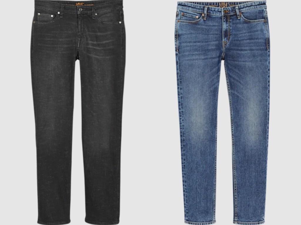 black and medium wash men's jeans