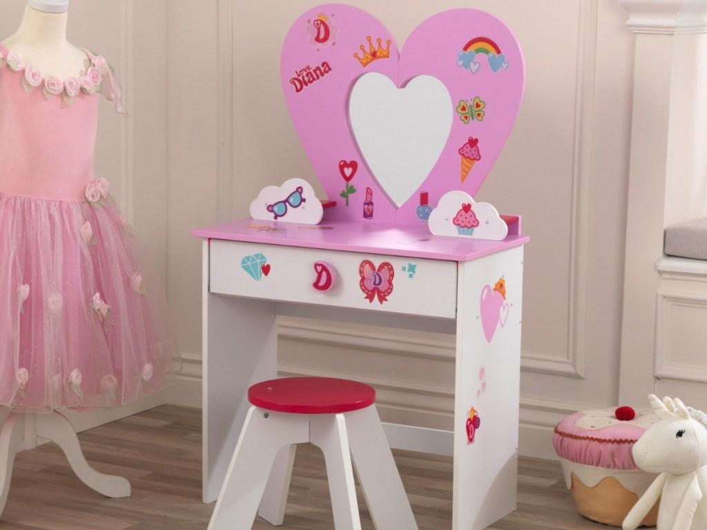 KidKraft Love Diana Wooden Heart Vanity Toy Set with Stool, Mirror & Stickers