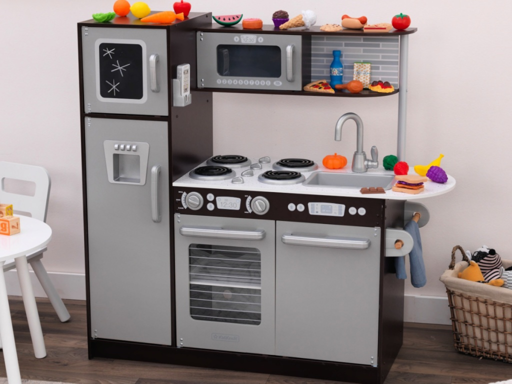 KidKraft Uptown Espresso Wooden Play Kitchen with Chalkboard and 30-Piece Play Food Accessories