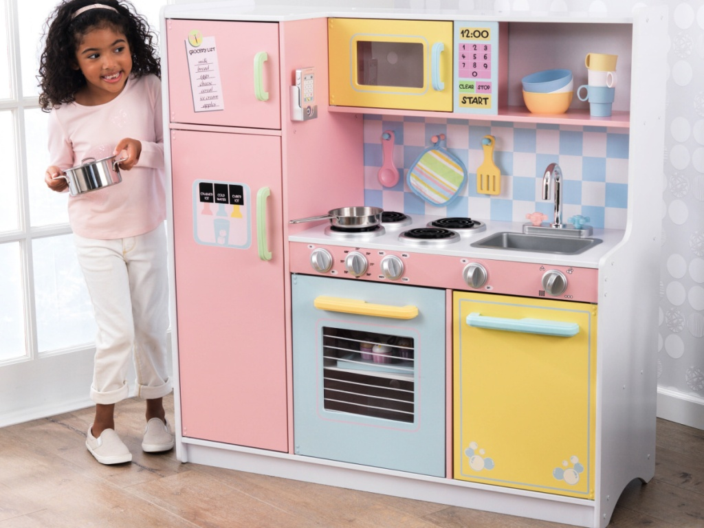 KidKraft Wooden Large Pastel Play Kitchen with Turning Knobs and Play Phone