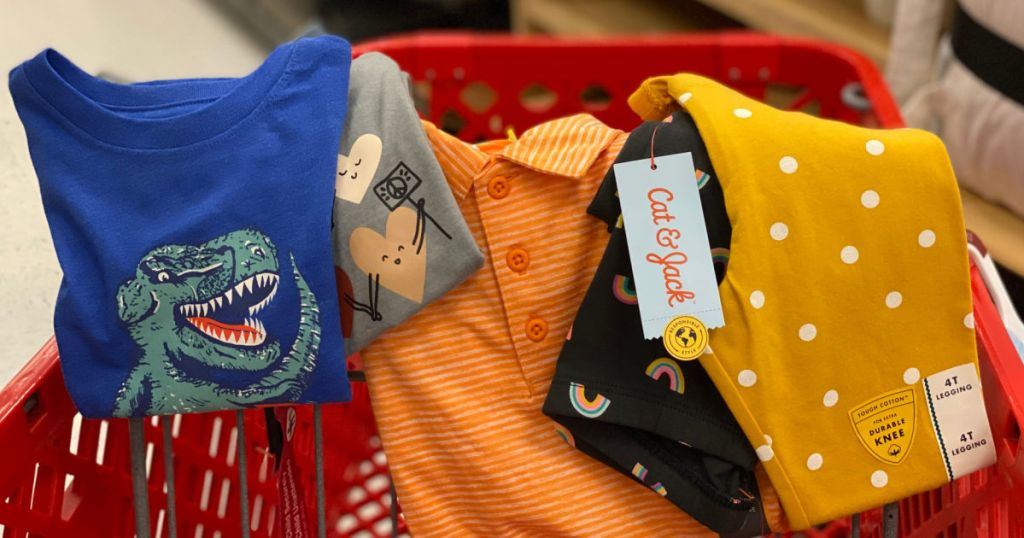 kids clothes in red cart