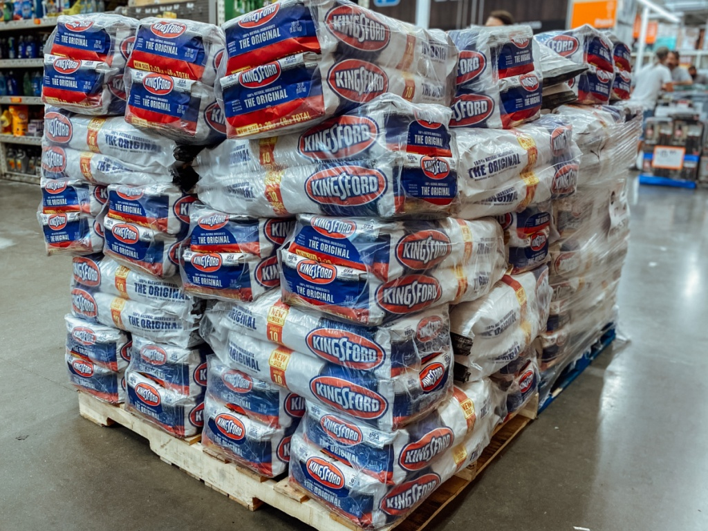 large pallet of Kingsford Charcoal 2 pack in Home Depot store