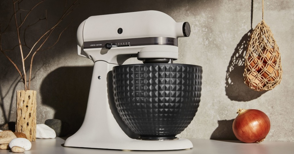 stand mixer with black studded bowl