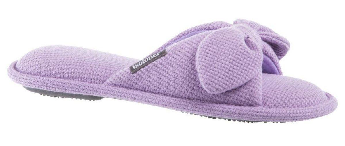 purple knit slip on slippers