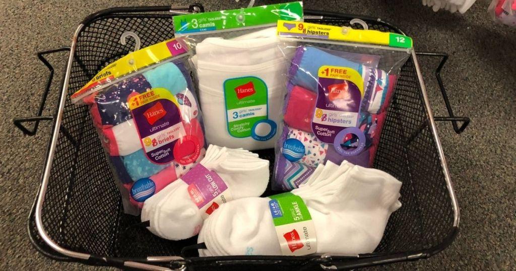 girls hanes socks and underwear in basket
